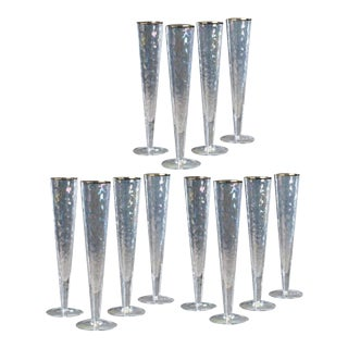 Kenneth Ludwig Chicago Aperitivo Slim Champagne Flute With Gold Rim - Set of 12 For Sale