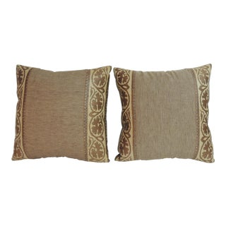Pair of Brown Arts & Crafts Woven Decorative Linen Pillows For Sale