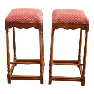 Pair French Country Red Barstools Made Italy ~Out of Dave Mustaine's Estate 2of2 For Sale