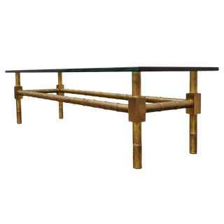 1960s Hollywood Regency Mastercraft Brass Faux Bamboo Rectangular Glass Coffee Table For Sale