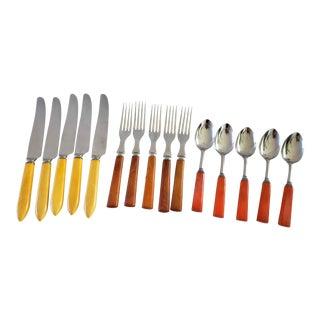 Bakelite Flatware Table Service 15 Pieces For Sale