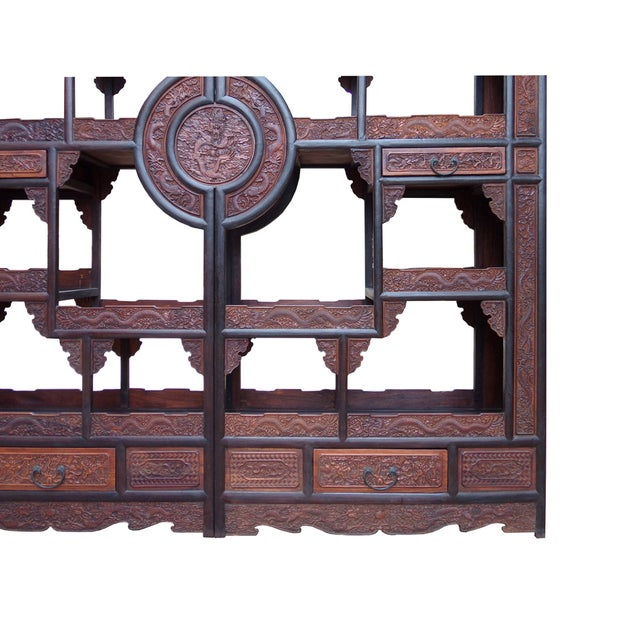 Brown Chinese Rosewood Display Curio Cabinets - A Pair For Sale - Image 8 of 10