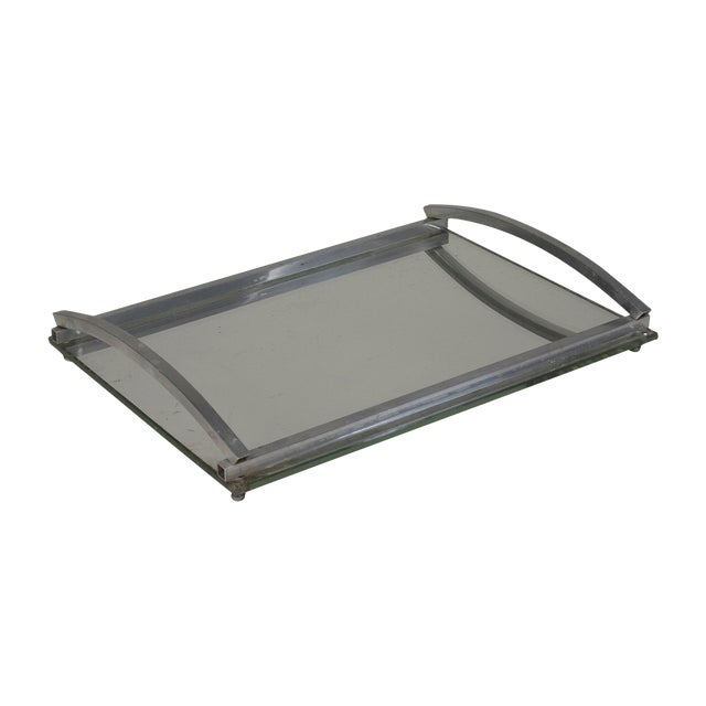 1930s Matte Nickel Frame Serving Tray - Image 1 of 9
