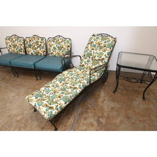 9 Piece Mid Century Wrought Iron Patio or Garden Set by Russell Woodard - Image 4 of 8