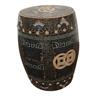 Chinese Double Lucky Coin Garden Drum Stool For Sale