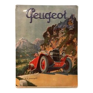 Vintage Embossed Peugeot Car Advertisement