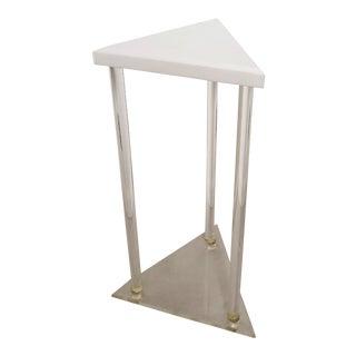 Mid Century Modern Vintage Lucite and Plexiglass Triangular Stand For Sale