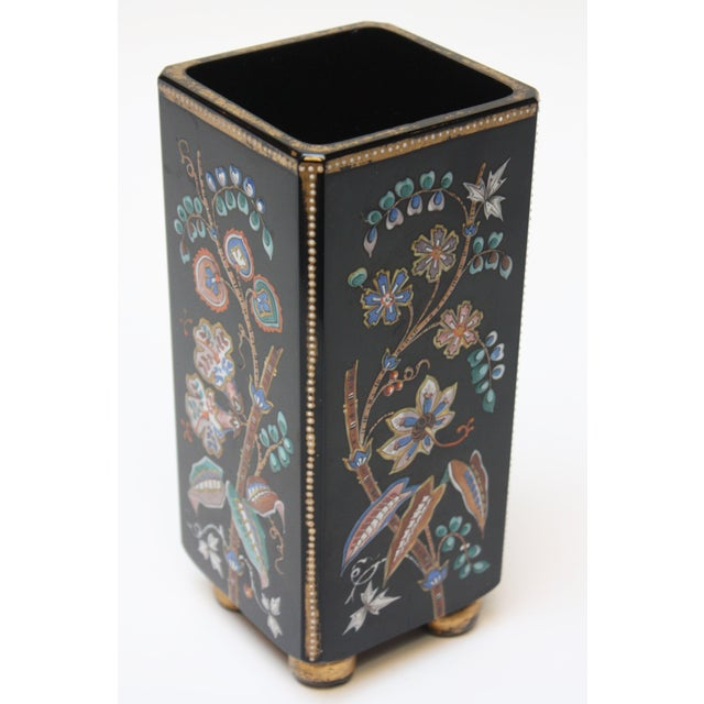 Gold Chinoiserie Style Ebony Rectangular Ceramic Vase With Floral Decoration For Sale - Image 8 of 8