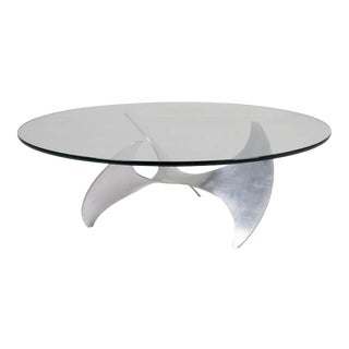 Authentic Knut Hesterberg Mid-Century Modern Aluminum and Glass Propeller Table For Sale