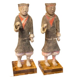 Han Dynasty Terracotta Standing Warriors on Lucite - A Pair For Sale