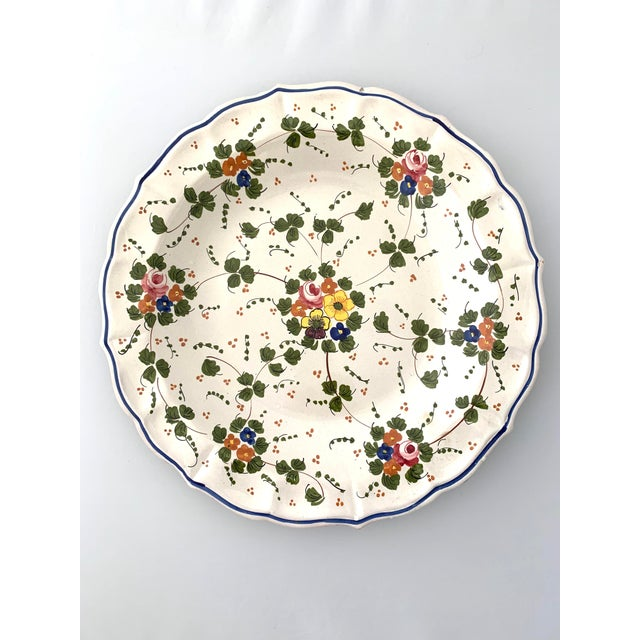 Ceramic Vintage Italian Ceramic Hand Painted Botanical Serving Tray For Sale - Image 7 of 7