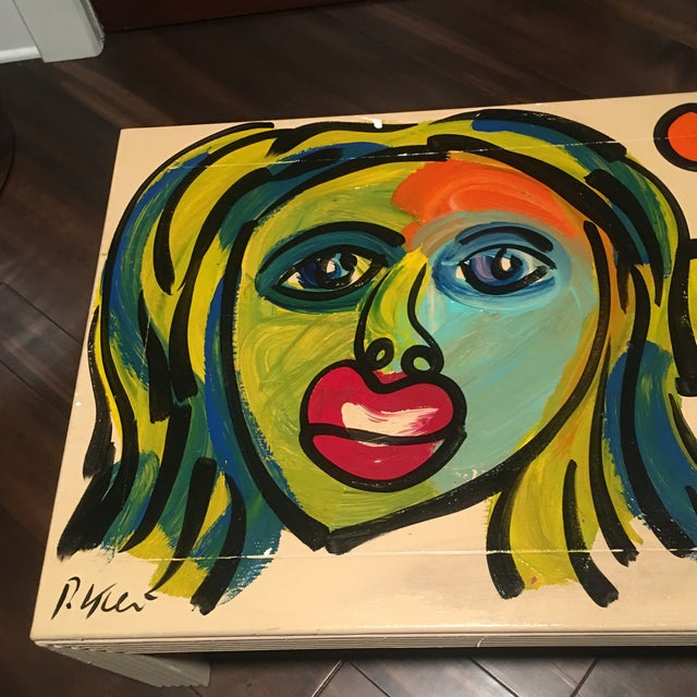Peter Keil 1970s Peter Keil Hand Painted Abstract Coffee Table For Sale - Image 4 of 13