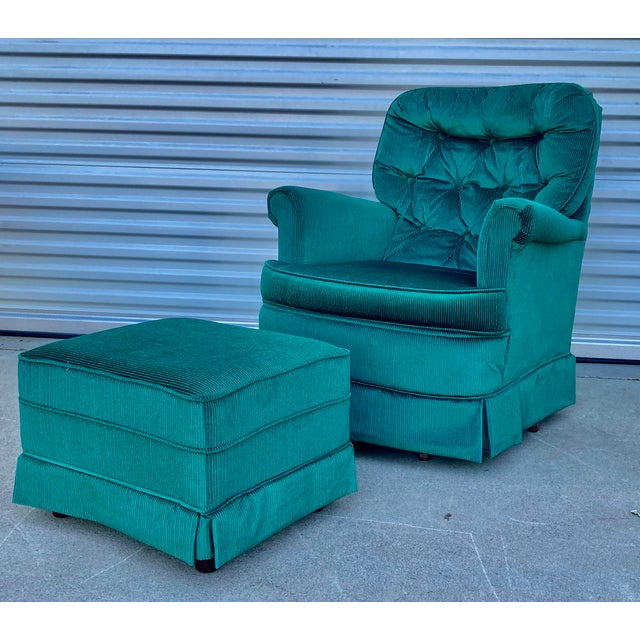 Vintage Broyhill Emerald Green Chair and Ottoman For Sale - Image 13 of 13