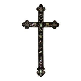 Antique Mother of Pearl Inlay Cross, Vietnam/Southern China For Sale