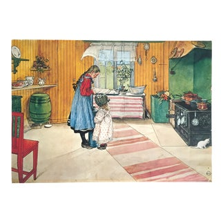 "Carl Larsson Vintage 1972 Original Swedish Lithograph Print Poster "" Koket the Kitchen "" 1898 For Sale"