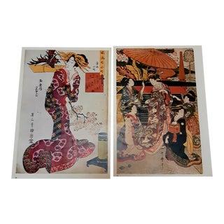 Vintage Geisha Japanese Prints - a Pair For Sale