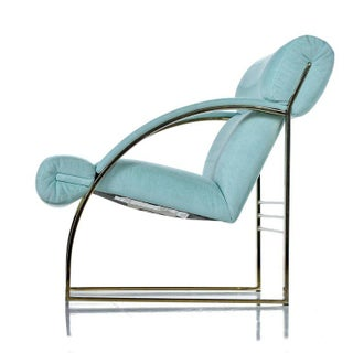 1990 Flat Bar Brass Hollywood Regency Armchair by Carson's, Teal Sea Foam Preview