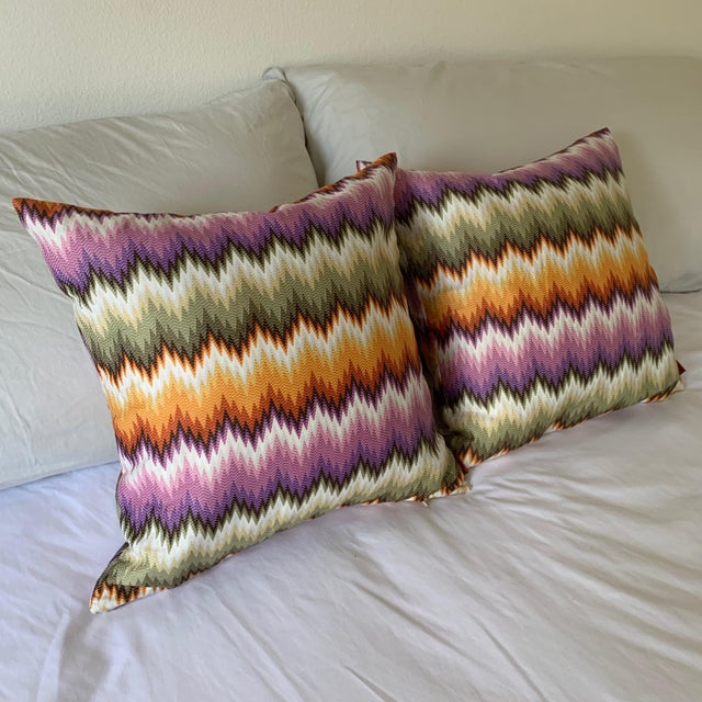 Missoni Home Multicolor Zig Zag Pillows - Pair For Sale In San Diego - Image 6 of 7