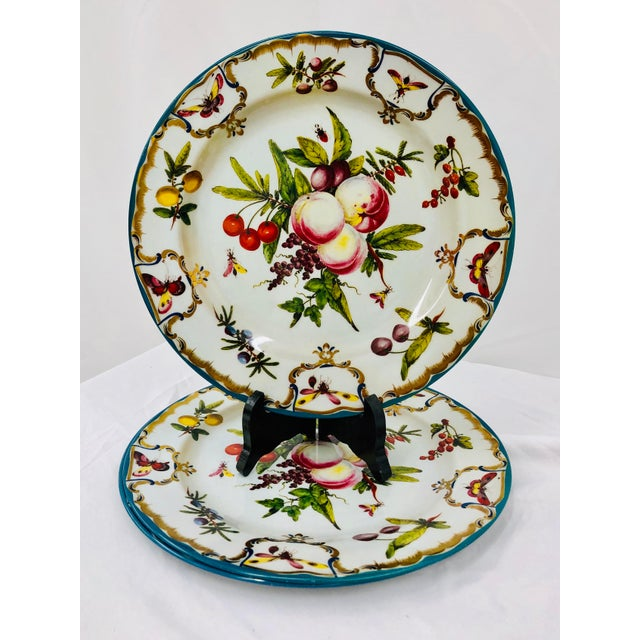 "Fantastic Set Floral & Fruit Motif Tin Serving Dishes / Plates. ""Duke of Gloucester"" Pattern / Design, taken from an..."