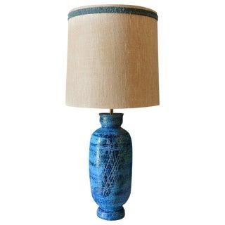 1960s Hollywood Regency Aldo Londi for Bitossi Blue Ceramic Table Lamp