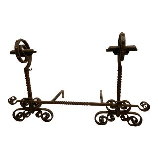 20th Century Wrought Iron Andirons With Spiral Tops - a Pair For Sale