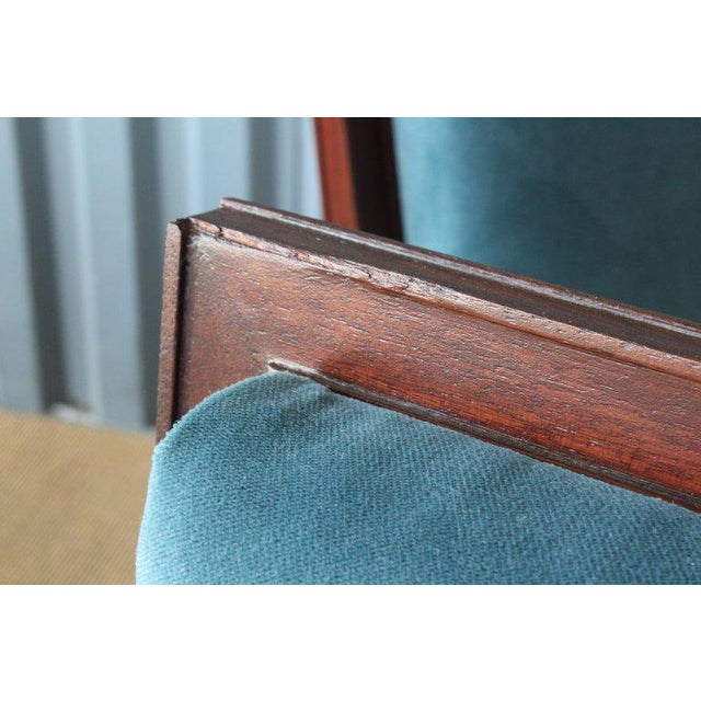 Mahogany Mahogany Armchair in Velvet, France, 1940s. Set of Four Available. For Sale - Image 7 of 12