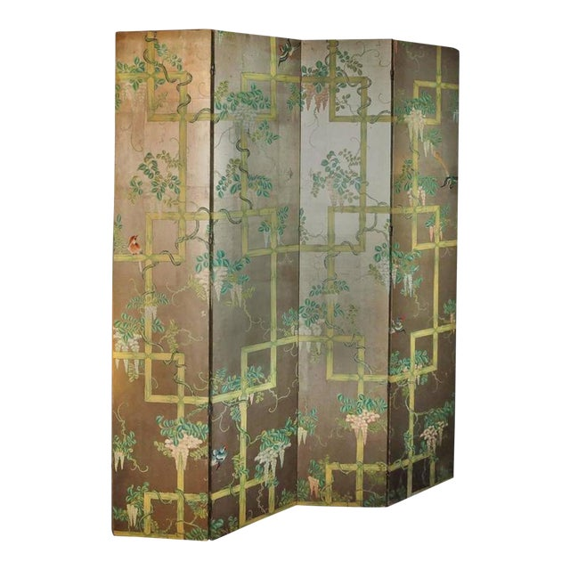 19th Century Four - Panel Painted Screen of Birds and Bamboo For Sale