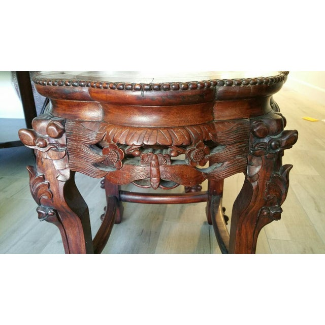Wood & Marble Hand-carved End Tables - Pair - Image 4 of 6