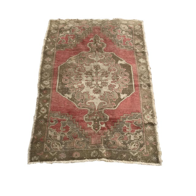 """Textile Hand Made Vintage Turkish Distressed Area Rug- 3'10""""x5'10"""" For Sale - Image 7 of 7"""
