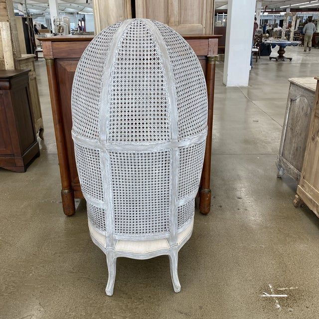French Balloon Caned Porters Canopy Chairs - a Pair For Sale - Image 4 of 13
