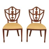 Image of Maitland Smith Carved Mahogany Dining Room Chairs - a Pair For Sale