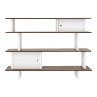 Contemporary Oeuf Mini Library White and Walnut Two Toned Bookcase For Sale