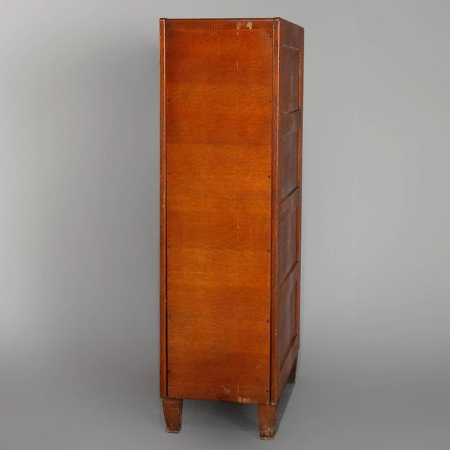 Metal Antique Arts & Crafts Paneled Oak 10-Drawer Filing Cabinet, Yawmen & Erbe For Sale - Image 7 of 10