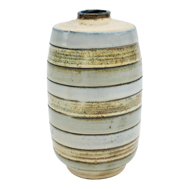 1980s Traditional Earthenware Striped Vase For Sale