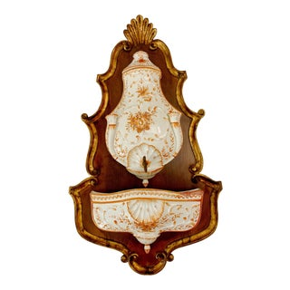 Florentine Carved Gilt Wood Majolica Hand Painted Italian Provincial Wall Fountain Lavabo For Sale