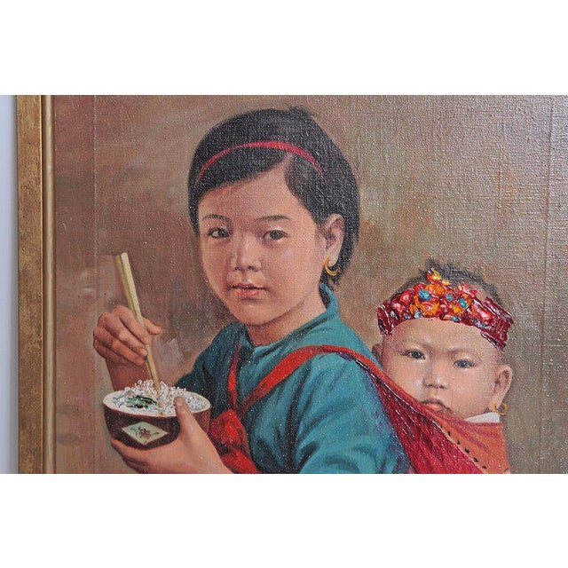Canvas Chinese Oil Painting of Young Girl Carrying Baby For Sale - Image 7 of 12