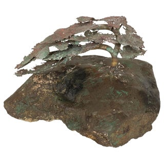 1960s Vintage Petite Mixed Metal Tree Sculpture For Sale