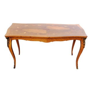 Antique French 19th C Bronze Mounted Floral Inlaid Louis XV Coffee Table For Sale