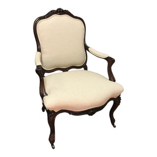 French Floral Open Arm Chair