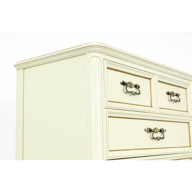 Cream Vintage Provincial Cream Highboy Chest of Drawers For Sale - Image 8 of 10