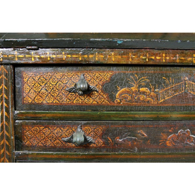 Red Venetian Rococo Green Japanned Secretary Desk For Sale - Image 8 of 13