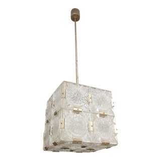 Vintage Kalmar Glass Square Pendant For Sale