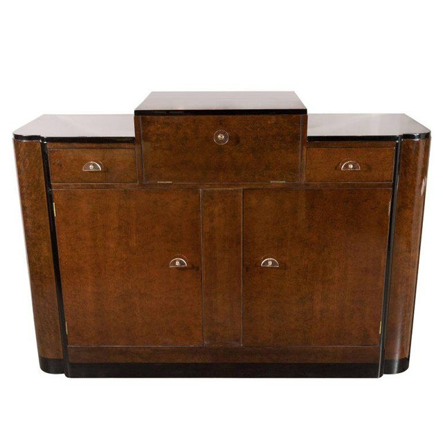 Streamlined Art Deco Bar/Cabinet in Book-Matched Elm with Plexi Pulls For Sale In New York - Image 6 of 6