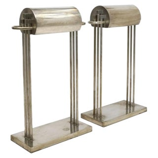 1925 Marcel Breuer Nickel Plated Brass Table Lamps - a Pair For Sale