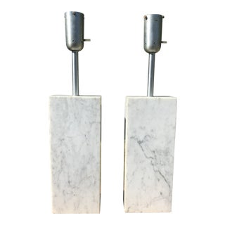 1960s Rectangular Base Mid Century Marble Table Lamps - a Pair For Sale