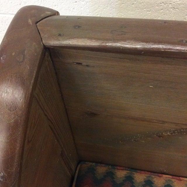 High Back Pickled Wood Bench For Sale - Image 4 of 12