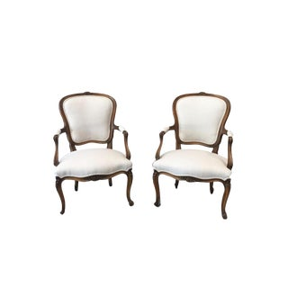 Louis XV White Linen Walnut Armchairs - a Pair For Sale