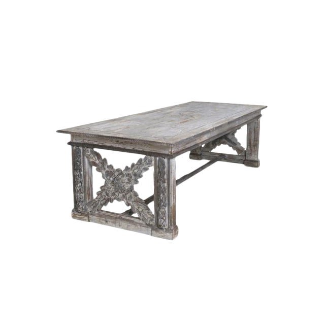19th Century Large Tuscan Richly Carved Trestle Table For Sale