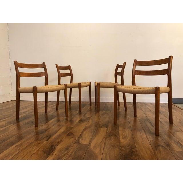 Mid-Century Modern Niels Otto Møller for j.l. Møller Teak Dining Chairs, Model 84 - Set of 4 For Sale - Image 3 of 13