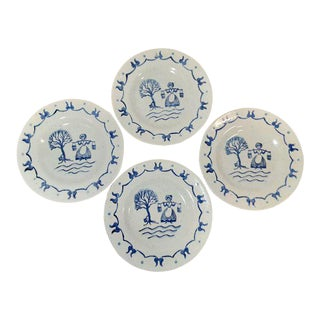 Early 20th Century Provincial Blue Poppytrail Vernon Stoneware Bread and Butter Plates by Metlox - Set of 4 For Sale